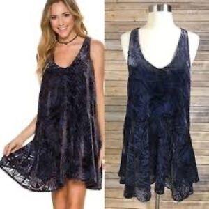 Free People Ellie Burnout Velvet Mini Dress Blue